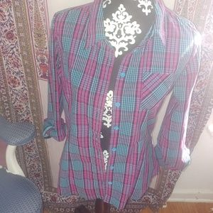EUC·A fine mess | plaid fitted turquoise magenta